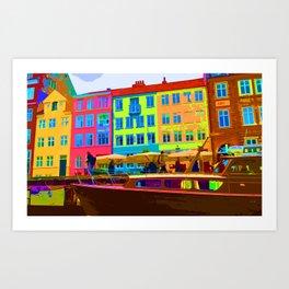 Harbour side Denmark Nyhavn Dayglo Print Art Print