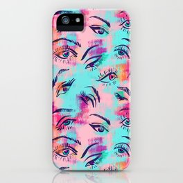 Mascara and colored eye shadow Pattern iPhone Case