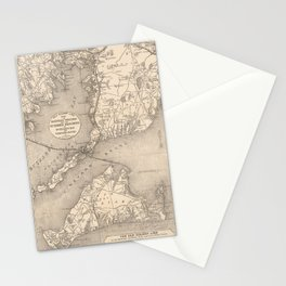 Vintage Cape Cod Old Colony Line Map (1888) Stationery Cards
