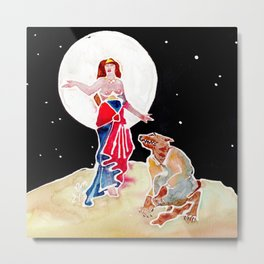 Goddess Circe & Her Beast Metal Print