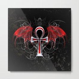Gothic Ankh Metal Print