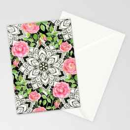Peach Pink Roses and Mandalas on Black and White Lace Stationery Cards