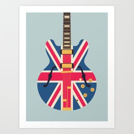 Union Jack Flag Britpop Guitar - Slate Art Print