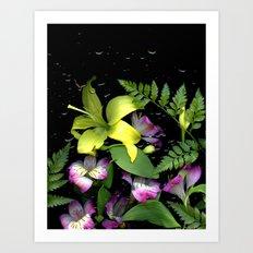WATERED FLOWERS Art Print