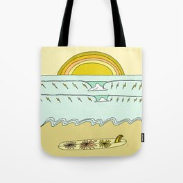 single fin simple life // longboard retro surf art by surfy birdy Tote Bag