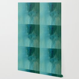 Forest green teal hand painted watercolor ombre Wallpaper