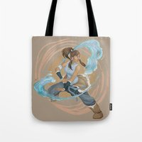 the legend of korra Tote Bags featuring Korra by Vaahlkult