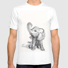 tiny elephant sitting in the corner White MEDIUM Mens Fitted Tee