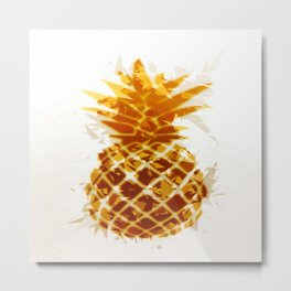 pineapple in brown and yellow with geometric triangle pattern abstract Metal Print