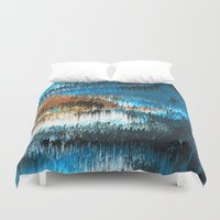 chihiro Duvet Covers featuring Blue Forest Shades by Alix Rumble