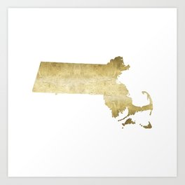 massachusetts gold foil state map Art Print
