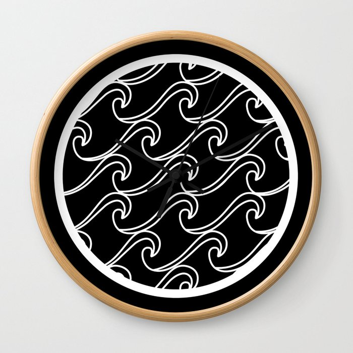 Rough Sea Pattern - white on black Wall Clock