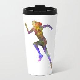 Woman runner running jogger jogging silhouette 03 Travel Mug