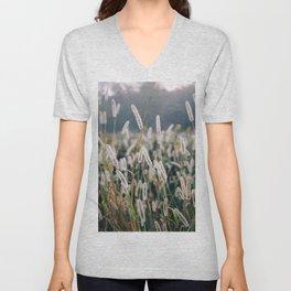 Whimsical Tall Grass Nature Field Landscape Photo Unisex V-Neck