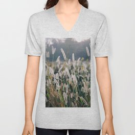 Whimsical Tall Grass Nature Field Landscape Photo Unisex V-Neck
