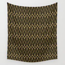 Art Deco Squares and Diamonds of Gold Wall Tapestry