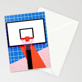 Baller - memphis retro grid neon pattern minimal basketball sports athletic art print Stationery Cards