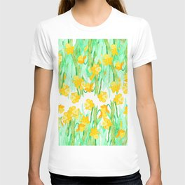 Colorful hand painted watercolor daffodil flowers T-shirt