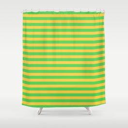 Horizontal Stripes (Green & Orange Pattern) Shower Curtain