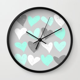 Mint white grey grunge hearts Wall Clock