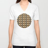 orange pattern V-neck T-shirts featuring Orange And Blue Pattern by Phil Perkins