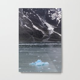 Alaska Snowy Mountain Cool Blue Icebergs Metal Print