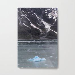 Alaska Snowy Mountain Cool Blue Icebergs Metal Print