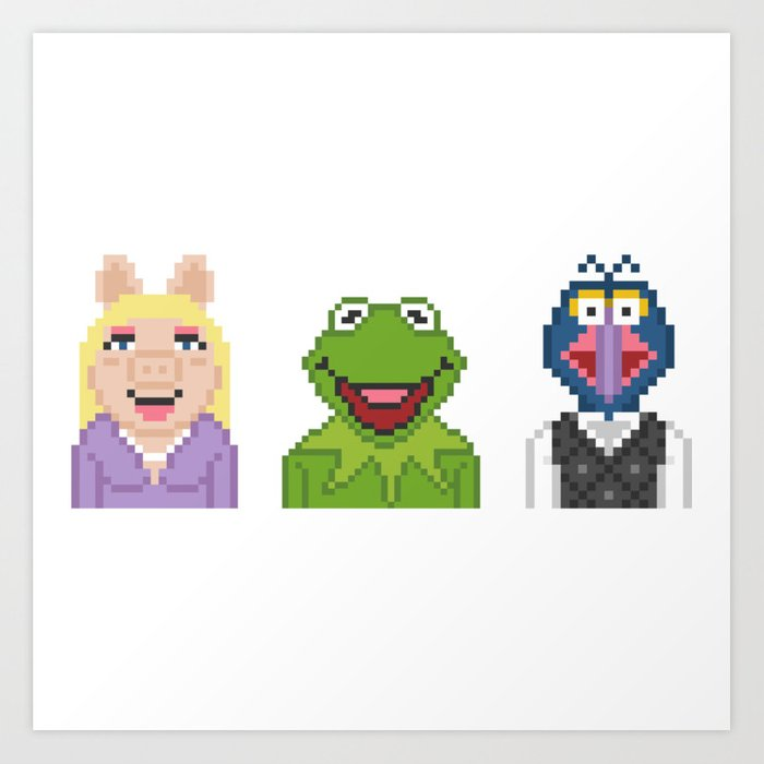 Kermit Miss Piggy And Gonzo The Muppets Pixel Art Print By Rebus28