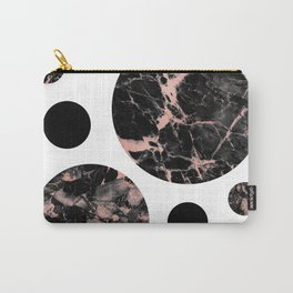 Geometric - Circles, Black Marble Rose Gold Carry-All Pouch