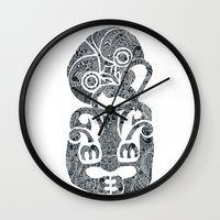 tiki Wall Clocks featuring Tiki  by AndreaGeddes