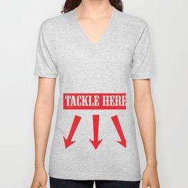 Funny Rugby Football Tackle Here Player  Unisex V-Neck