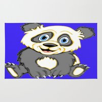 cartoons Area & Throw Rugs featuring Smiling Panda by J&C Creations