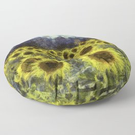 Sunflower Fields Of Dreams Van Goth Floor Pillow