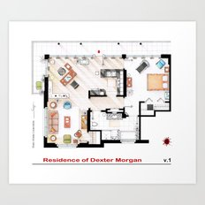 Floorplan of Dexter Morgan's Apartment v.1 Art Print