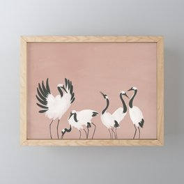 Crane Dance - Mauve Pink Framed Mini Art Print