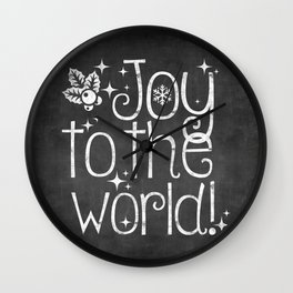 Joy to the world chalkboard christmas lettering Wall Clock