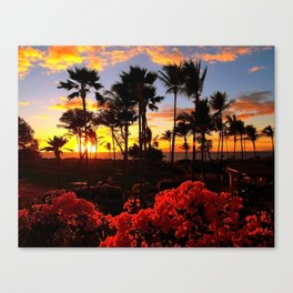 Maui Sunset with Red Flowers Canvas Print