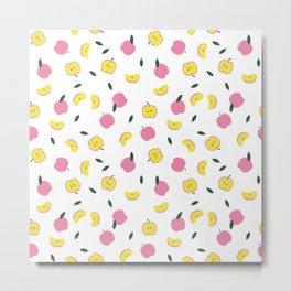 Pink Apples Pattern Metal Print