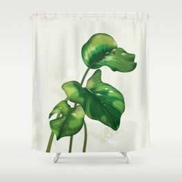 Big leaves and Ladybird Shower Curtain