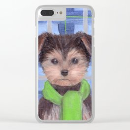Yorkie Poo in Scarf Clear iPhone Case