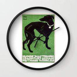 1912 Ludwig Hohlwein Dog Show Poster Wall Clock