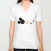 mickey V-neck T-shirts featuring Deconstructing Mickey by ErDavid