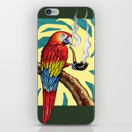 Smokin parrot .... where is my pipe ??? iPhone Skin