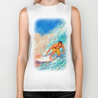 surfer Biker Tanks featuring Surfer by LiliyaChernaya