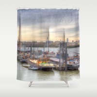 community Shower Curtains featuring Boat community river Thames London by David Pyatt