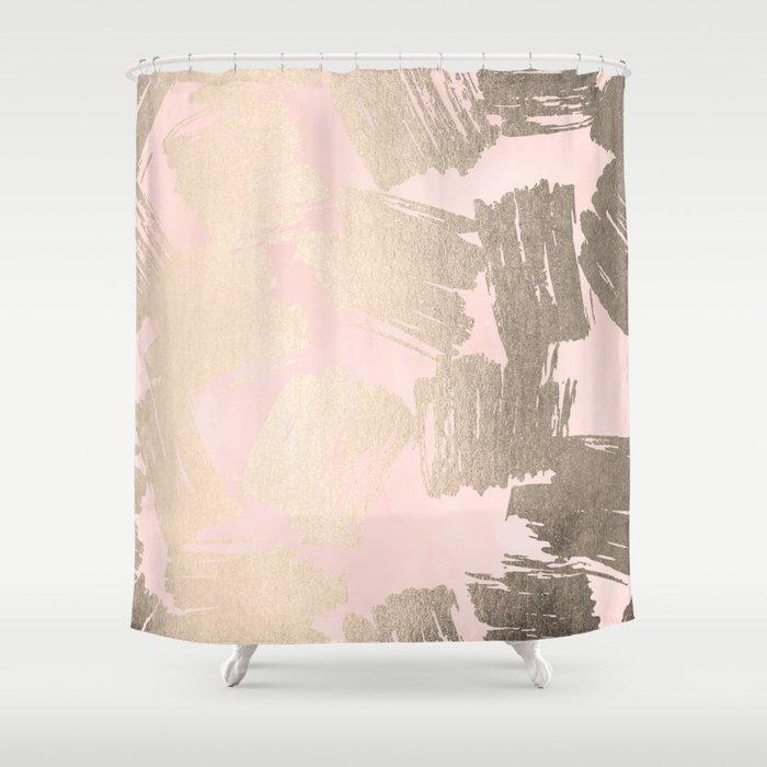 Modern Pink Gold Shower Curtain