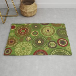 concentric circles red and green Rug