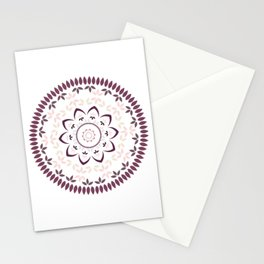 Leaf and petal floral Mandala with radial symmetry Stationery Cards