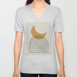Moon mountain gold - Mid century style Unisex V-Neck