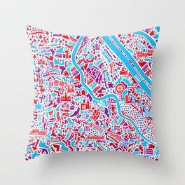 Vienna City Map Poster Throw Pillow